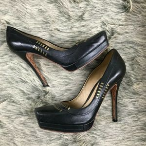 LAMB Jona Black Gold Stud Leather Platform Pump